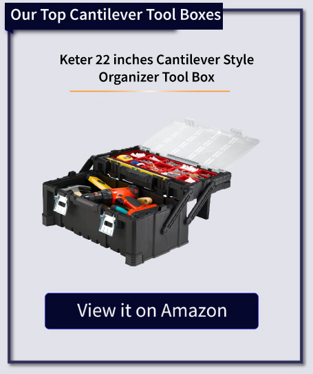 keter 22 inch cantilever style organizer tool box